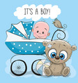 baby boy with carriage and teddy bear