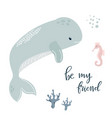 baby print with blue whale hand drawn graphic vector image