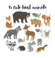 big set with hand drawn forest animals vector image