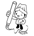 black and white chef mascot create recipe with vector image