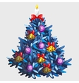 Blue Christmas tree with toys and garland vector image