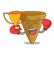 boxing winner sweet wafer cone isolated on maskot vector image vector image