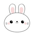 bunny rabbit round face head line icon doodle vector image
