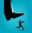businessman runs from giant foot vector image vector image