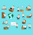 Businessman work business situation icons