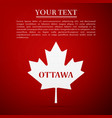 canadian maple leaf with city name ottawa vector image