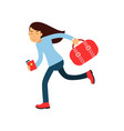 cartoon girl character running fast to airport vector image vector image