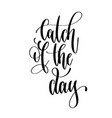 catch of the day - hand lettering text positive vector image