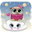 cute owl a on the cloud vector image vector image