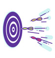 darts fly to the target lineart vector image vector image