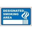 Designated smoking area sign isolated on white vector image vector image