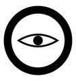 eye the black color icon in circle or round vector image vector image