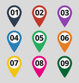 flat map markers with numbers vector image vector image