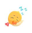 funny cartoon comic chicken sleeping on a pillow vector image vector image