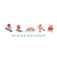 funny cartoon pigs winter sport activities vector image vector image