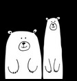 funny white bears sketch for your design vector image