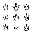 graffiti crown set in black over white drawn by vector image vector image