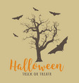 halloween old tree and bats vector image vector image