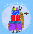 happy new year card cartoon girl with gift vector image vector image