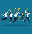 isometrics of businessmen are happy and jumping vector image vector image