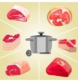 meat for soup set vector image vector image