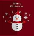 merry christmas card with paper snowman and vector image