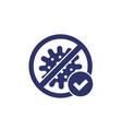 no virus bacteria icon with check mark