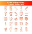 orange futuro 25 school elements icon set vector image vector image