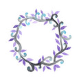 purple and blue halloween ivy wreath watercolor vector image