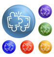 puzzle teamwork icons set vector image