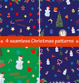 Set of 4 Christmas seamless patterns vector image