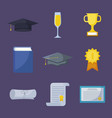 set of icons graduation celebration vector image