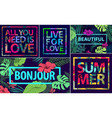 set of tropical quotes posters and banners vector image