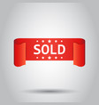 sold ribbon icon discount sale sticker label on vector image vector image