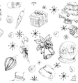 X-mas seamless hand drawn backgrownd bw vector image vector image