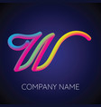 w letter logo icon blending color vector image