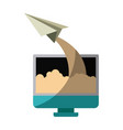 colorful silhouette of lcd monitor and paper plane vector image