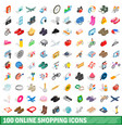 100 online shopping icons set isometric 3d style vector image vector image