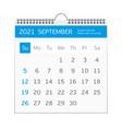 2021 september calendar template vector image vector image