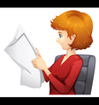A woman reading vector image vector image
