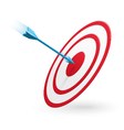 Arrow hitting the center of target isolated vector image vector image