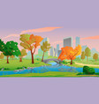 autumn city landscape with river and yellow trees vector image