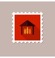 Barn flat stamp with long shadow vector image vector image