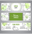 butchery horizontal banner hand drawn farm vector image vector image