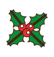 christmas leaf with holly berry decoration vector image vector image