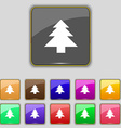 Christmas tree icon sign Set with eleven colored vector image vector image