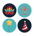 circus carnival round icons vector image vector image