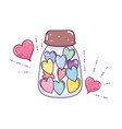 cute mason jar with love hearts vector image