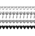 decorative hearts ribbons and borders decoration vector image