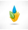 eco concept hand and water icon vector image vector image